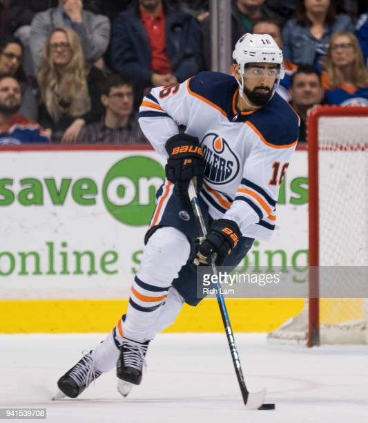 Jujhar Khaira of the Edmonton Oilers skates with the puck in NHL action against the Vancouver Canucks on March 2018 at Rogers Arena in Vancouver...