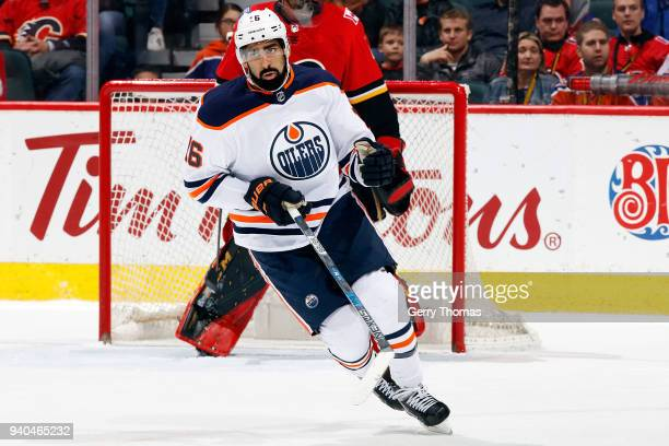 Jujhar Kjaira of the Edmonton Oilers skates against the Calgary Flames during an NHL game on March 31 2018 at the Scotiabank Saddledome in Calgary...