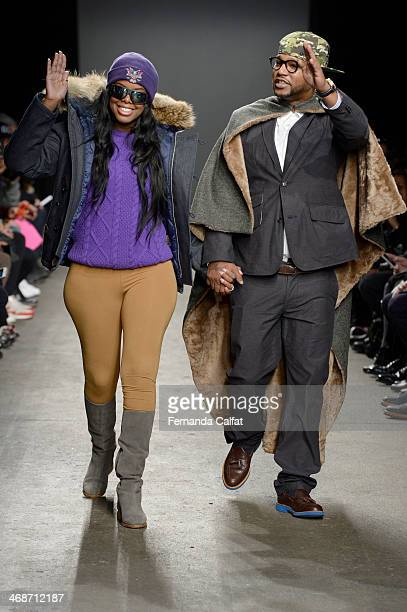 Juju and Cam'ron attend the Mark McNairy New Amsterdam runway during Mercedes-Benz Fashion Week Fall 2014 at Eyebeam on February 11, 2014 in New York...