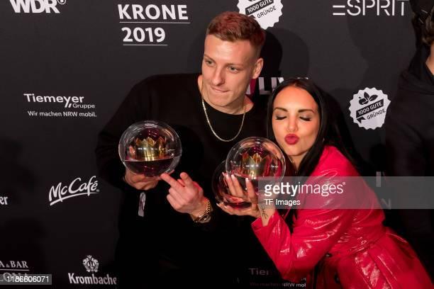 Juju and Felix Lobrecht with the 1Live Krone radio award at Jahrhunderthalle on December 5 2019 in Bochum Germany