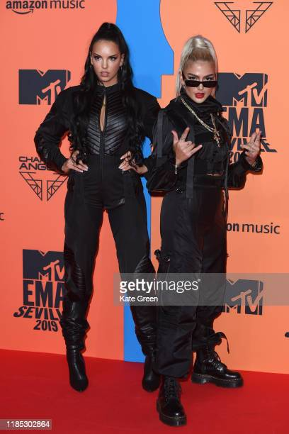 Juju and Loredana attend the MTV EMAs 2019 at FIBES Conference and Exhibition Centre on November 03, 2019 in Seville, Spain.