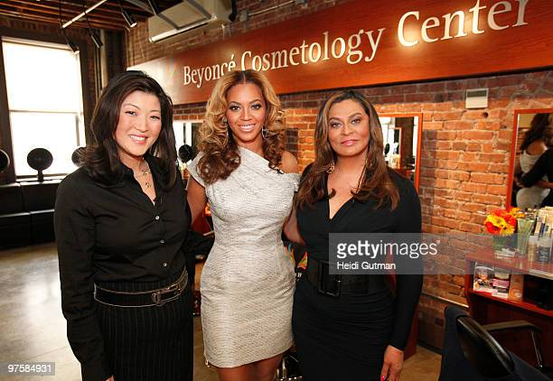 AMERICA Juju Chang spends an afternoon with Beyonce and her mom Tina Knowles who have created a Cosmetology Center with the opening ceremony at the...
