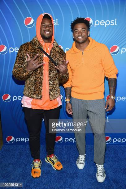 JuJu SmithSchuster and Jamal Adams attend Planet Pepsi PreSuper Bowl LIII party featuring Travis Scott on February 1 2019 in Atlanta Georgia