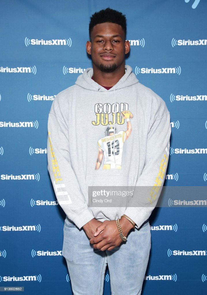 JuJu Smith-Schuster of the Pittsburgh Steelers attends SiriusXM at Super Bowl LII Radio Row at the Mall of America on February 2, 2018 in Bloomington, Minnesota.