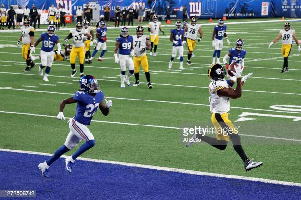 JuJu Smith-Schuster of the Pittsburgh Steelers catches a 10 yard touchdown pass against the New York Giants during the second quarter in the game at...