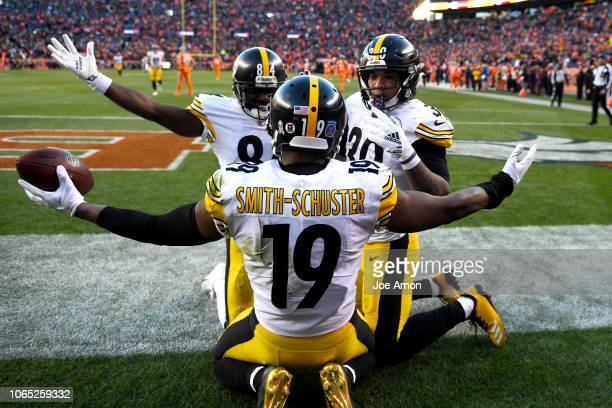 JuJu SmithSchuster of the Pittsburgh Steelers celebrates a 97yardtouchdown during the third quarter against the Denver Broncos The Denver Broncos...