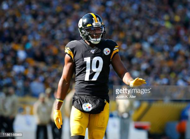 JuJu Smith-Schuster of the Pittsburgh Steelers in action against the Indianapolis Colts on November 3, 2019 at Heinz Field in Pittsburgh,...