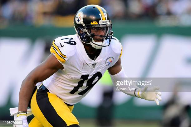 JuJu Smith-Schuster of the Pittsburgh Steelers in action against the New York Jets at MetLife Stadium on December 22, 2019 in East Rutherford, New...