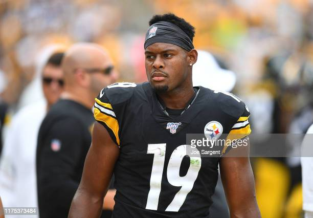 JuJu Smith-Schuster of the Pittsburgh Steelers looks on during the game against the Seattle Seahawks at Heinz Field on September 15, 2019 in...