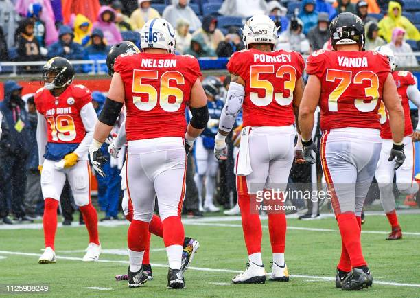 JuJu SmithSchuster of the Pittsburgh Steelers Quenton Nelson of the Indianapolis Colts Mike Pouncey of the San Diego Chargers and Marshal Yanda of...