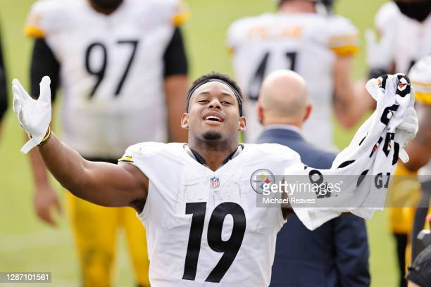 JuJu Smith-Schuster of the Pittsburgh Steelers reacts during the second half against the Jacksonville Jaguars at TIAA Bank Field on November 22, 2020...