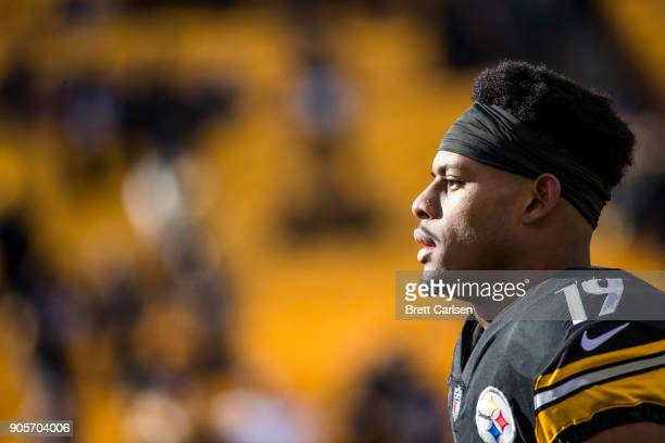 JuJu SmithSchuster of the Pittsburgh Steelers walks the field before the AFC Divisional Playoff game against the Jacksonville Jaguars at Heinz Field...