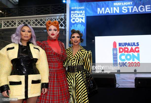Jujubee Morgan McMichaels and Serena ChaCha attend RuPaul's DragCon UK presented by World Of Wonder at Olympia London on January 18 2020 in London...