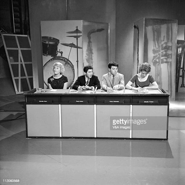 Juke Box Jury Carole Carr Paul Anka Tony Orlando and Sheila Tracy appear on the on an episode of the BBC TV show 1959