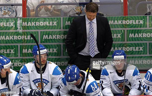 Jukka Jalonen , head caoch of Finland looks dejected after the IIHF World Championship bronze medal match between Finland and Czech Republic at...