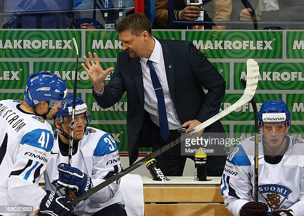 Jukka Jalonen, head coach of Finland gestures during the IIHF World Championship group H match between Finland and Slovakia at Hartwall Areena on May...