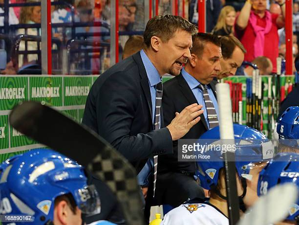 Jukka Jalonen, head coach of Finland gives instructions during the IIHF World Championship quarterfinal match between Finland and Slovakia at...