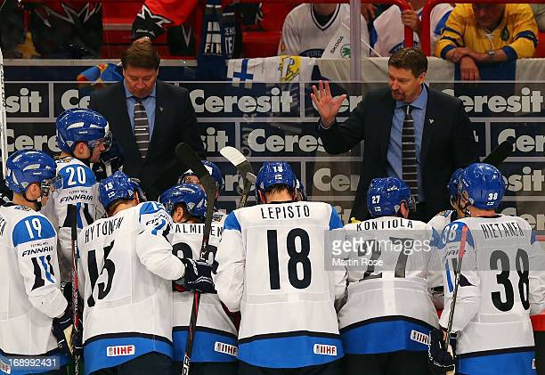 Jukka Jalonen , head coach of Finland gives instructions during the IIHF World Championship semifinal match between Finland and Sweden at Globen...