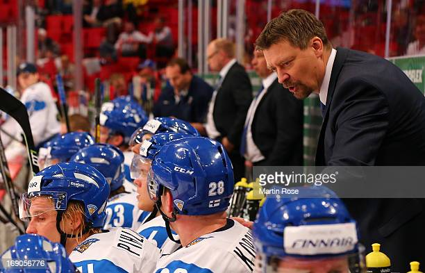 Jukka Jalonen , head coach of Finland gives instructions during the IIHF World Championship third place match between Finland and USA at Globen Arena...