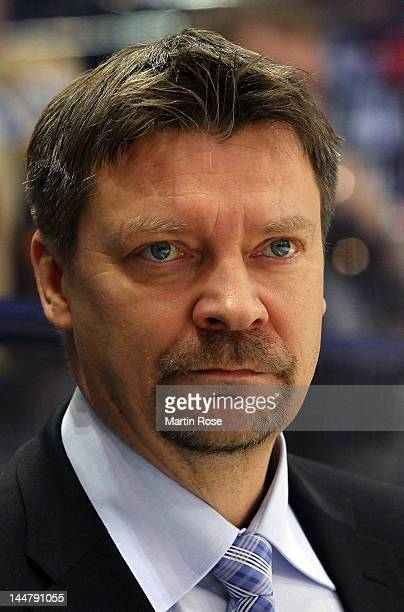 Jukka Jalonen, head coach of Finland looks on during the IIHF World Championship semi final match between Russia and Finland at Hartwall Arena on May...