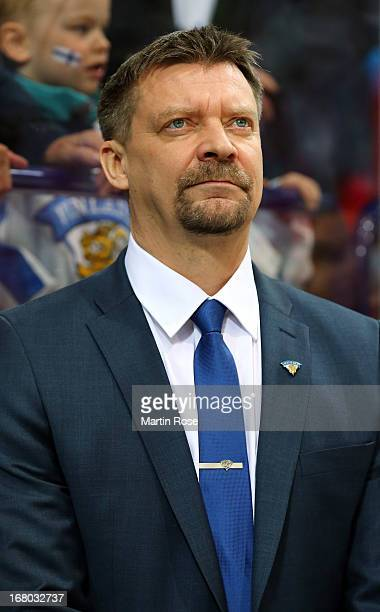 Jukka Jalonen, head coach of Finland looks on during the IIHF World Championship group H match between Finland and Slovakia at Hartwall Areena on May...