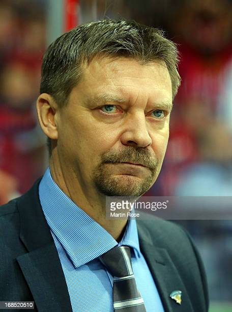Jukka Jalonen, head coach of Finland looks on during the IIHF World Championship group H match between Russia and Finland at Hartwall Areena on May...