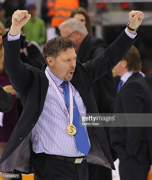 Jukka Jalonen, headcoach of Finland celebrates after winning the IIHF World Championship gold medal match between Sweden and Finland at Orange Arena...
