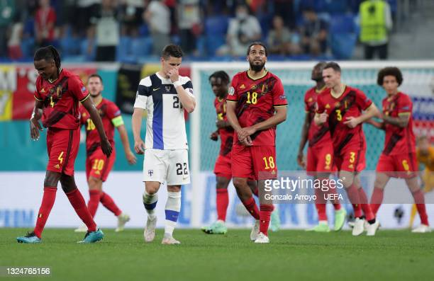Jukka Raitala of Finland looks dejected after team mate Lukas Hradecky scores an own goal during the UEFA Euro 2020 Championship Group B match...