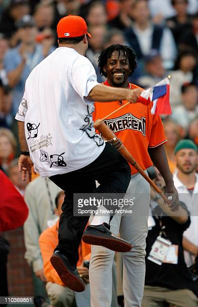 Jul 09 2007 San Francisco CA USA A supporter cheers on VLADIMIR GUERRERO The 2007 State Farm Home Run Derby takes place at ATT Park in San...