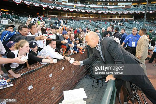 Jul 09 2007 San Francisco CA USA Retired Baltimore Oriole CAL RIPKEN signs autographs The 2007 State Farm Home Run Derby takes place at ATT Park in...
