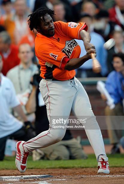 Jul 09 2007 San Francisco CA USA VLADIMIR GUERREO hits a home run The 2007 State Farm Home Run Derby takes place at ATT Park in San FranciscoCA on...