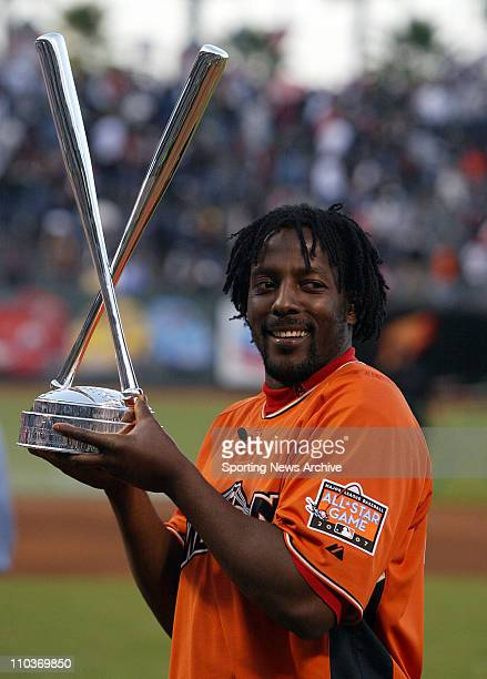 Jul 09 2007 San Francisco CA USA VLADIMIR GUERRRERO of the Angels shows off the championship trophy The 2007 State Farm Home Run Derby takes place at...