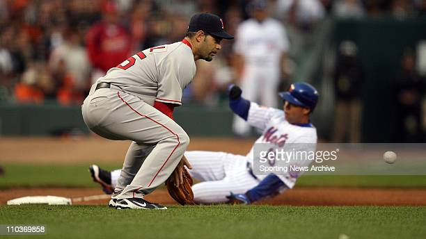 Jul 10 2007 San Francisco CA USA MIKE LOWELL of the Red Sox catches the ball as CARLOS BELTRAN of the Mets advances to third during the 2007 All Star...