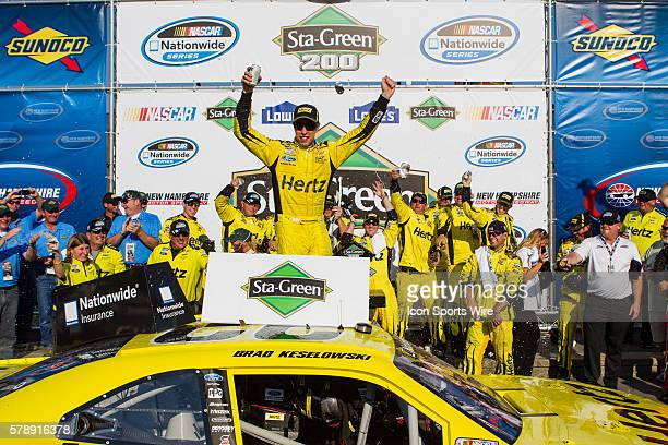 NASCAR Nationwide Series Brad Keselowski driver of the Hertz Ford wins the Nationwide Series StaGreen 200 at New Hampshire Motor Speedway in Loudon NH