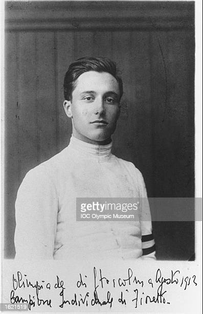 Portrait of Nedo Nadi of Italy a competitor in the Fencing Individual Foil event at the 1912 Olympic Games in Stockholm Sweden Nadi won the gold...