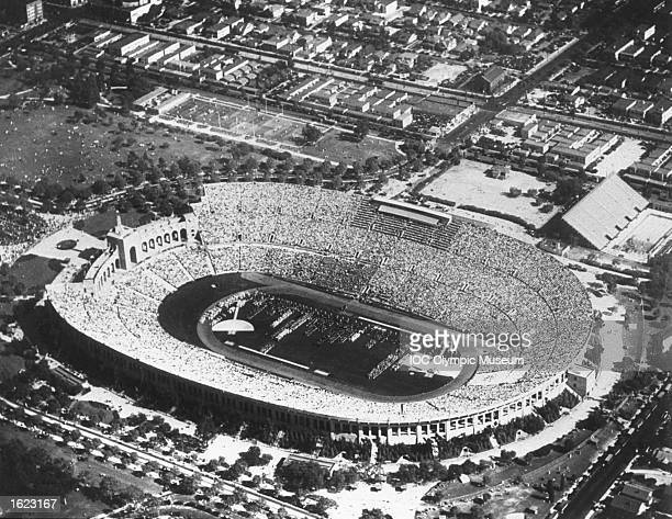 Aerial view of the Coliseum Stadium during the Opening Ceremony of the 1932 Olympic Games in Los Angeles USA Mandatory Credit IOC Olympic Museum...