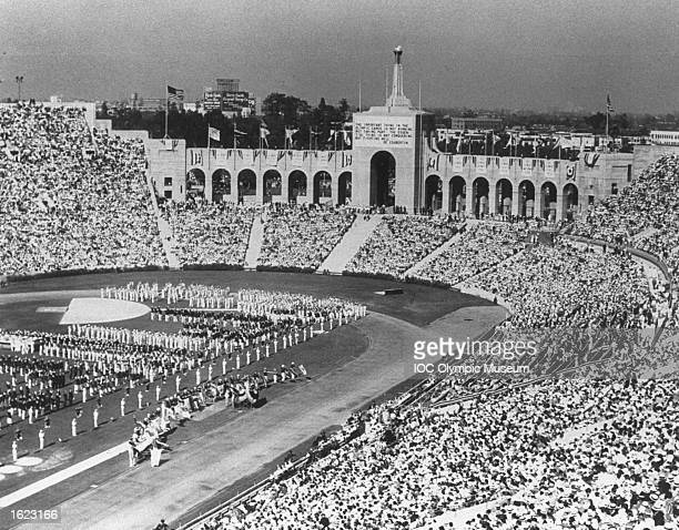 General view of the Coliseum Stadium during the Opening Ceremony of the 1932 Olympic Games in Los Angeles USA Mandatory Credit IOC Olympic Museum...