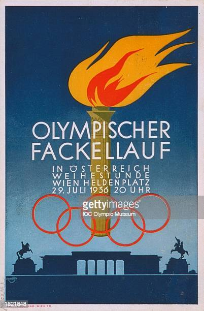 Poster of the Olympic torch created in honour of its passing through Vienna on its way to the 1936 Olympic Games in Berlin Mandatory Credit IOC...