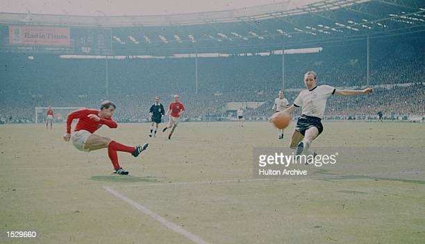 World Cup Final England v West Germany First in the sequence showing England's controversial third Hurst's second goal Mandatory Credit Allsport...