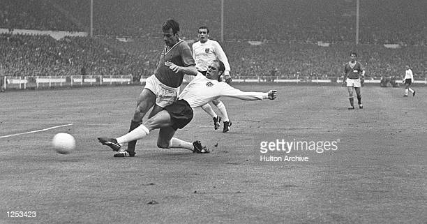 World Cup Finals England v France at Wembley Ray Wilson slides in to take the ball away from Philippe Gondet Mandatory Credit Allsport Hulton/Archive