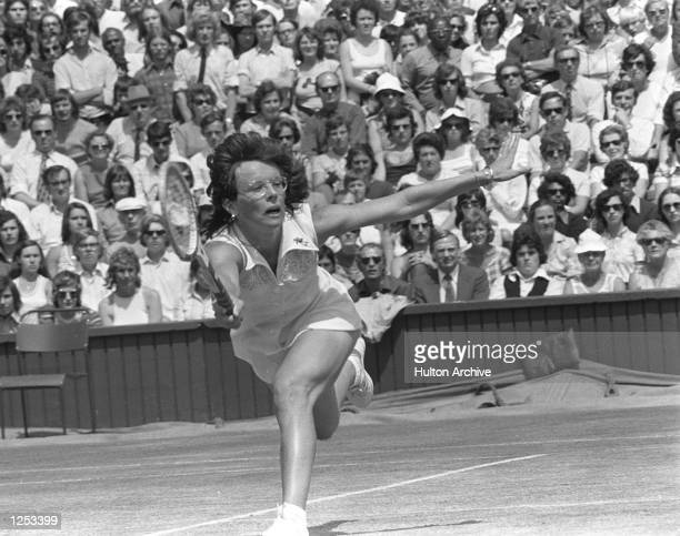 Billie Jean King on her way to victory in the Women's Singles Final at Wimbledon. She beat Chris Evert 6-0 7-5. Mandatory Credit: Allsport...
