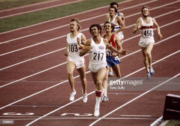 Alberto Juantorena of Cuba wins the gold medal in the 800m with a world record time of 14350 during the 1976 Summer Olympics in Montreal Canada...