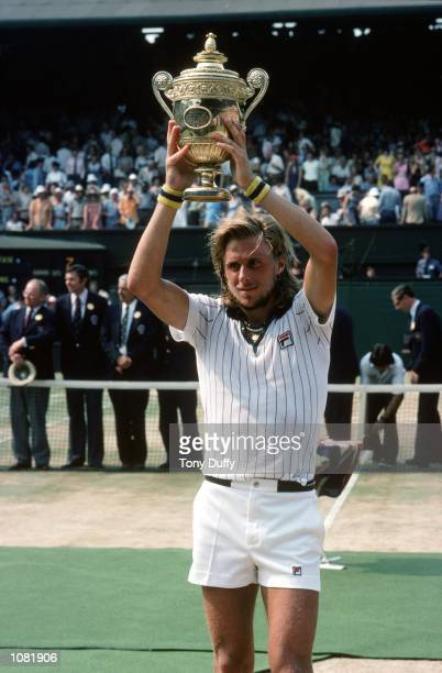 Bjorn Borg of Sweden poses with the winning trophy after winning the Wimbledon Lawn Tennis Championship held at the All England Lawn Tennis and...