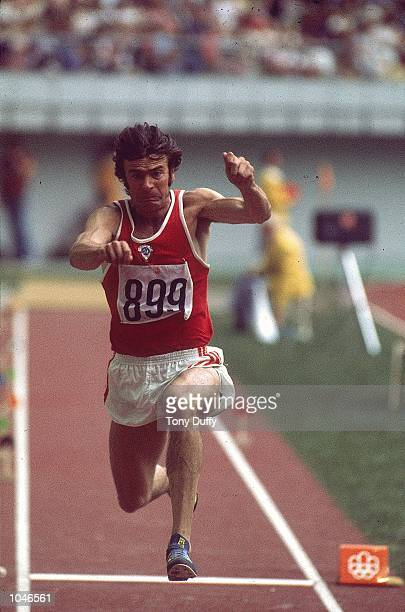 Victor Sanyeyev of Russia wins Gold in the Triple Jump at the 1976 Olympic Games in Montreal Canada Mandatory Credit Tony Duffy /Allsport