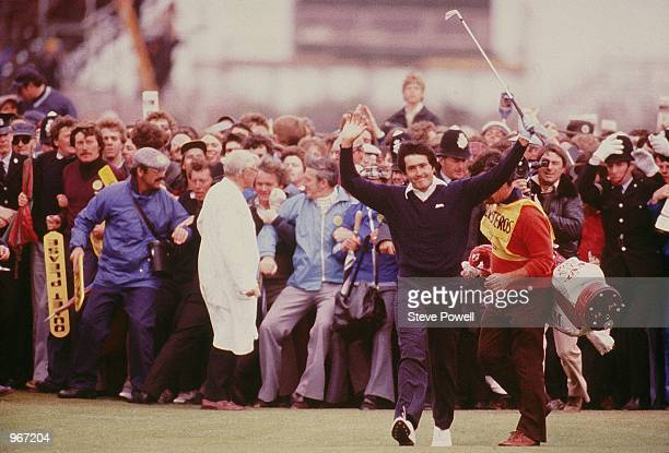 Seve Ballesteros of Spain celebrates on the 18th fairway on his way to victory in the British Open at Royal Lytham St Annes in Lancashire England...