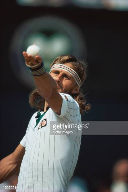 Bjorn Borg of Sweden in action during the Mens Singles Final against John McEnroe of the USA at the Wimbledon Championships in London Borg won the...