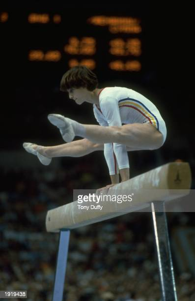 Nadia Comaneci of Romania in action on the Beam during the 1980 Olympic Games in Moscow Soviet Union Comaneci won the gold medal on the Beam and on...