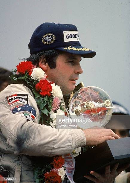 Williams Ford driver Alan Jones wins the Formula One British Grand Prix at Brands Hatch in Kent England Mandatory Credit Steve Powell /Allsport