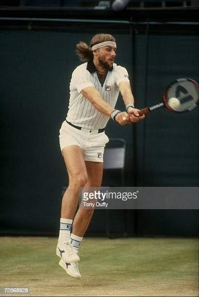 Bjorn Borg of Sweden returns a volley during his match against John McEnroe in the finals of the 1981 Lawn Tennis Championships at the AllEngland...
