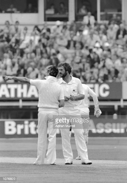 Ian Botham discusses tactics with England captain Mike Brearley during the fourth Test Match against Australia at Edgbaston in Birmingham England...